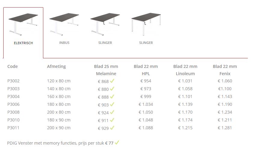 Prijzen en formaten 160x80